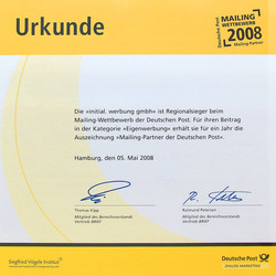 2008-dp-partner-min.jpg - d:2008: Auszeichung als Mailingpartner der Deutschen Post - sd: