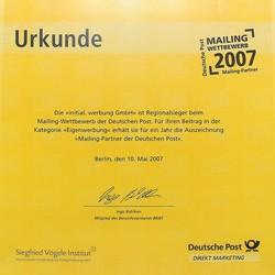 2007-dp-partner-min.jpg - d:2007: Auszeichung als Mailingpartner der Deutschen Post - sd: