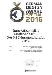 2016-gda-urkunde.jpg - d:German Design Award 2016: KSG-Kalender 2014 'Innovation trifft Leidenschaft'. - sd: